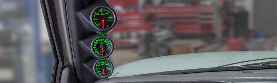 GlowShift 52mm Black 7 Color 60PSI Diesel Boost 1500F EGT Pyrometer Gauge Set